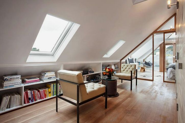 Reading alcove in a renovated San Francisco Victorian #books #home_library #skylight