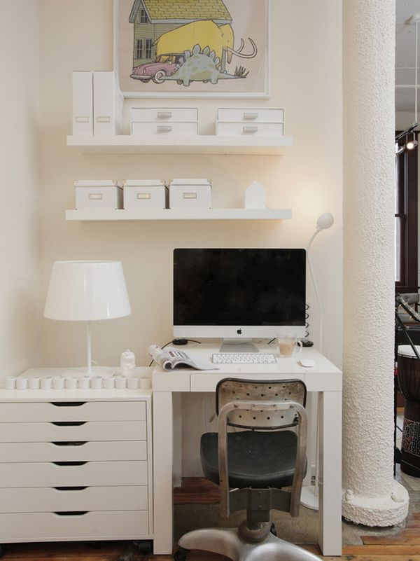small office space looks like ikea table and storage - Small Kitchen Desk Ideas