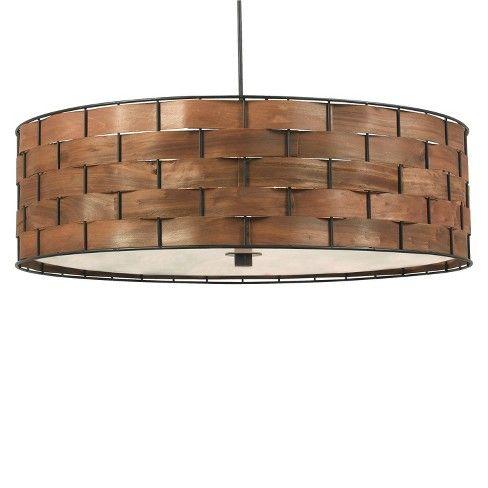 Kenroy Home Dark Woven Wood Finish Shaker 3 Light Pendant