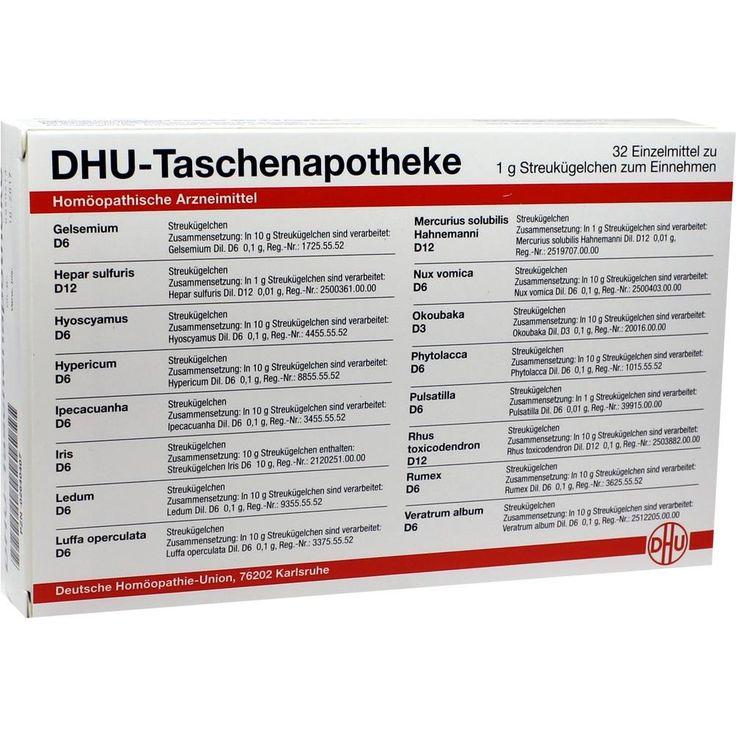 DHU Taschenapotheke Globuli:   Packungsinhalt: 32X1 g Kombipackung PZN: 02640407 Hersteller: DHU-Arzneimittel GmbH & Co. KG Preis: 56,36…