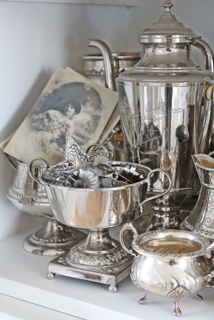 Love the Old (or recent) black and white photo.  Decorating with Antique Silver Find your own Antique Silver Trays, Dishes, Tea Sets & Candlesticks at www.antique-silver.co.uk