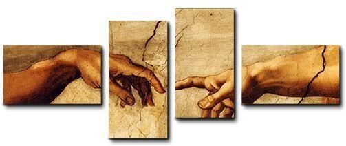 Quadro moderno 4 pz stampa su tela cm 176x74 Michelangelo creazione di Adamo