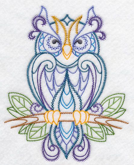 Finely feathered owl on branch embroidered fabric sewing quilt block