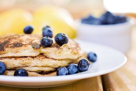 Whole Spelt Lemon Cottage Cheese Pancakes with Blueberry Maple Syrup ...