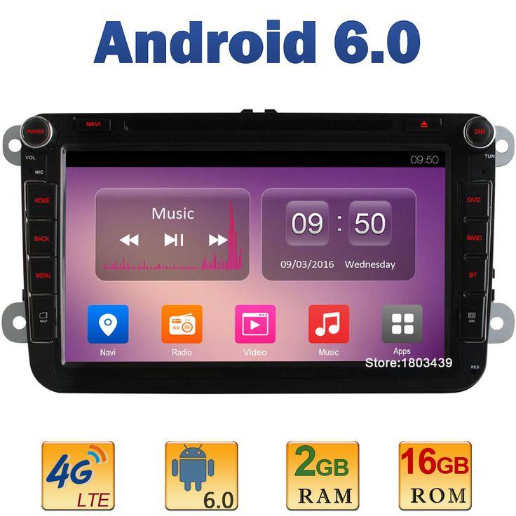 "8"" Quad Core 2GB RAM 4G LTE SIM WIFI Android 6.0 Car DVD Player Radio For VW Golf PASSAT CC Golf Polo EOS Skoda Octavia DAB+AUX"