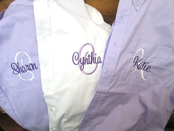I. WANT. THESE. SALE!! Set of 10 Personalized Bridal Party Shirt, Monogrammed Button Down Bridesmaid Shirt