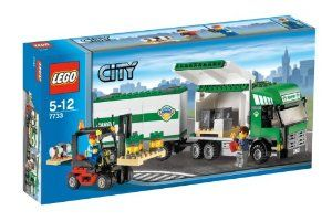 "LEGO City Truck and Forklift by LEGO. $129.99. Includes 2 minifigures!. Truck and trailer measure over 11"" (27cm) long!. Load up and roll out! Quick, you need to make a cargo delivery in LEGO© City! Use the working forklift to load up the truck with pallets of supplies. When you reach your destination, detach the trailer from the truck and open the containers to unload! 343 Pieces. Includes 2 minifigures! Truck and trailer measure over 11"" (27cm) long!Lego Systems, Inc..."