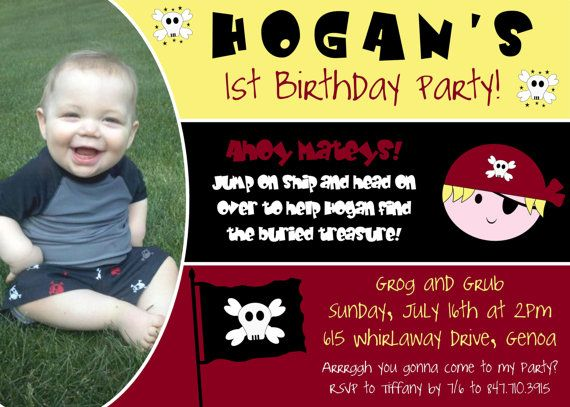 Custom Pirate Themed Birthday Party Invite  Digital by CAMRYNJOLEE, $15.00