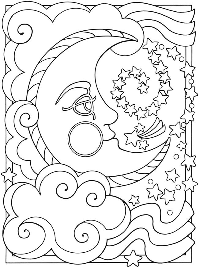 sun moon stars space planet coloring page printable adult kleuren voor volwassenen frbung fr erwachsene coloriage