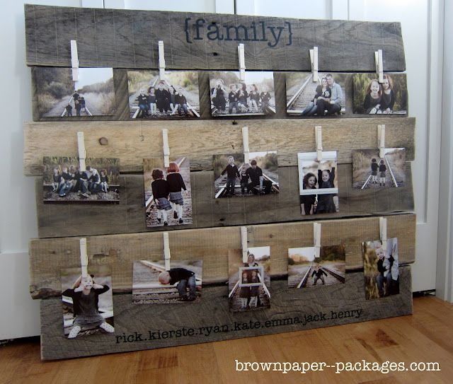 wood pallet photo display (could paint or stain pallet pieces and paint clothes pins for photos or childrens art display)