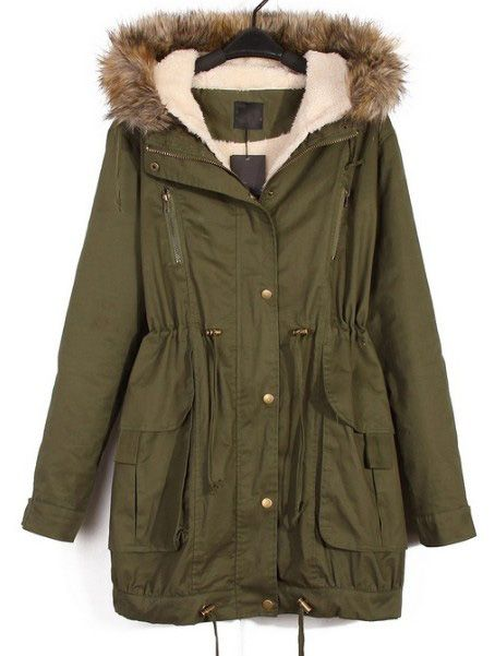 Green Fur Hooded Long Parka