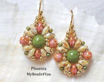 Superduo Beadwoven pendientes, pendientes de abalorios, cuentas pendientes, regalo de joyería Set, Tutorial de abalorios, patrón pendiente, pendientes de bolas de semilla,