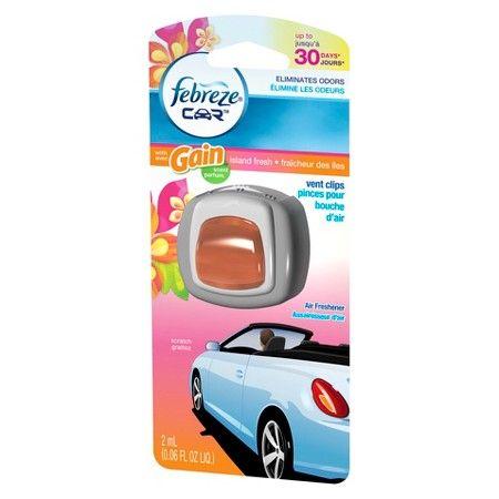 Febreze Car Gain Island Fresh Scent Air Freshener Vent Clip : Target