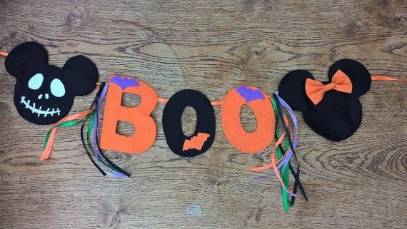 Disney Halloween Mickey and Minnie boo bunting garland home decor