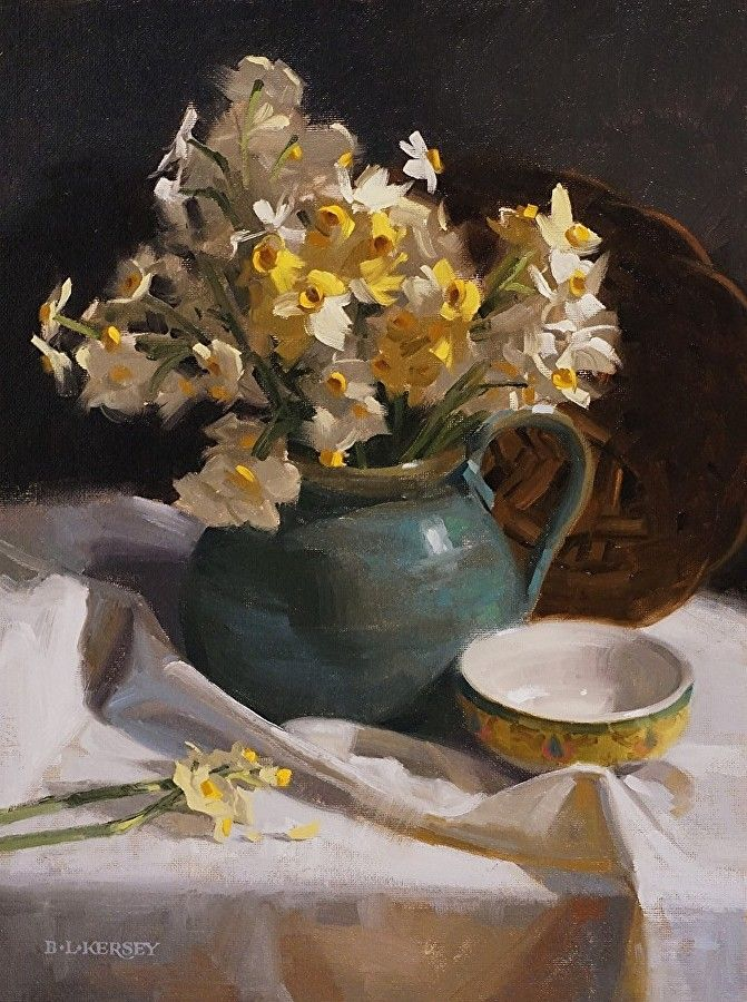 Narcissus on White by Laurie Kersey Oil ~ 16 x 12