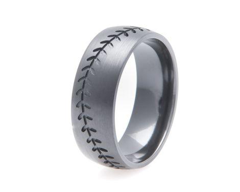mens blacked out baseball wedding band baseball wedding bandssports - Sports Wedding Rings