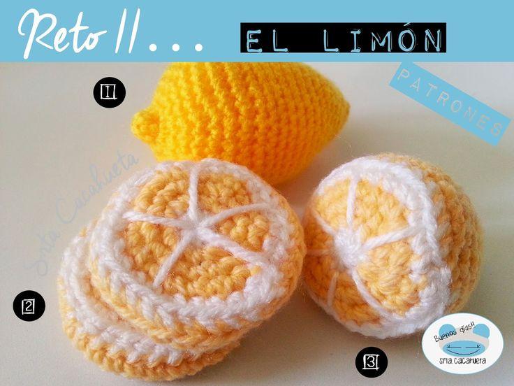 Limón Amigurumi - Patrón Gratis en Español aquí: http://srtacacahueta.blogspot.com.es/2015/03/reto-ii-solucion-al-reto-del-limon.html