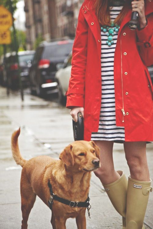 striped shift dress + red coat + rain boots