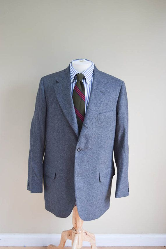 Mens Vintage Gray Flannel Sport Jacket by Southwick Preppy Ivy League Trad 3/2 Roll 42R
