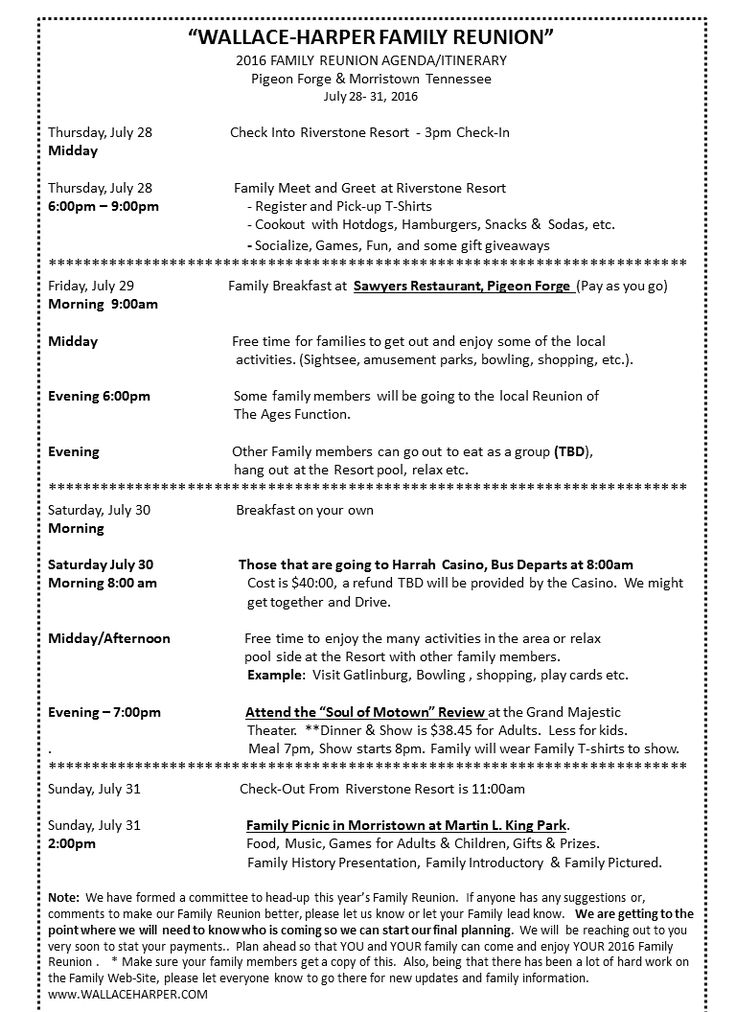 2016 Family Reunion Agenda/Itinerary