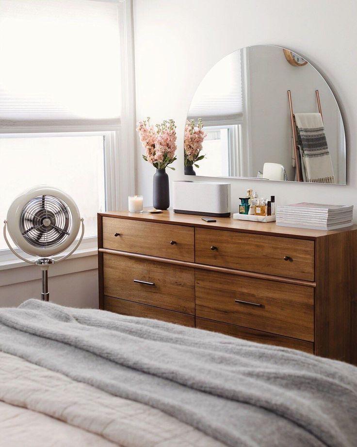 Half Circle Mirror Above Bedroom Dresser Minimalist Bedroom Home Decor Bedroom Bedroom Design
