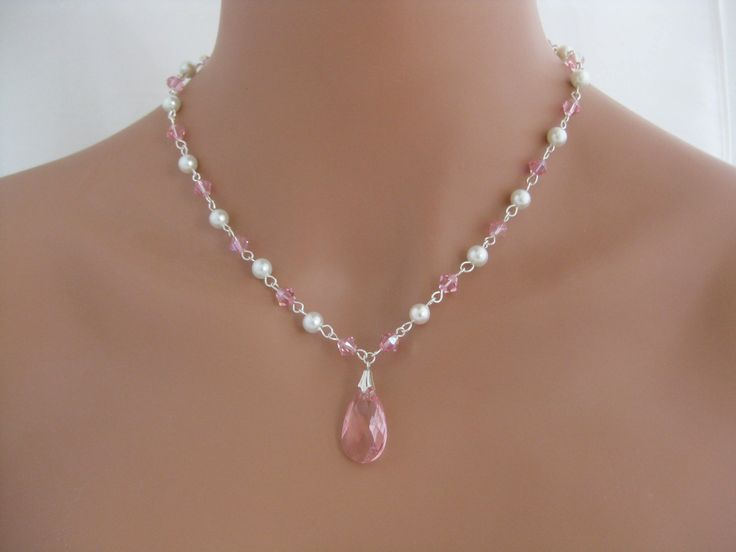 Pink Swarovski Crystal pendant necklace