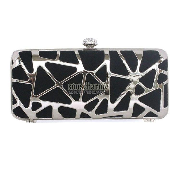 Pochette noire soirée portefeuille femme pas cher rectangulaire métal grille fermoir à clip aux strass