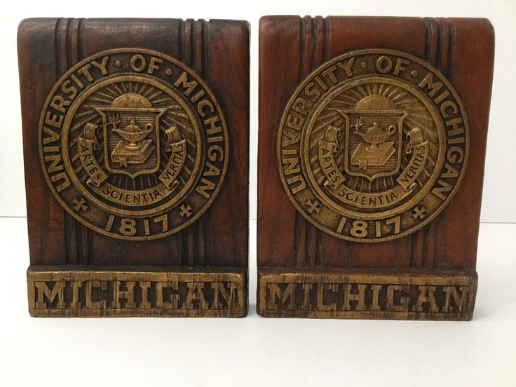 Vintage University of Michigan Book Ends Plaster