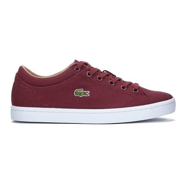 Lacoste Women's Straightset W Canvas Trainers - Dark Red ($89) ❤ liked on Polyvore featuring shoes, sneakers, red, lacoste shoes, grip trainer, red canvas sneakers, red shoes and tennis trainer
