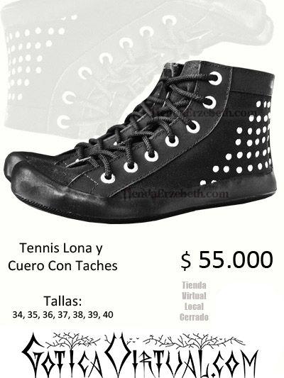 tennis zapatos negros lona cuero estilo rock punk dark gothic metal sky tienda almacen ventas por mayor medellin cali manizales pereira yopal tunja pasto