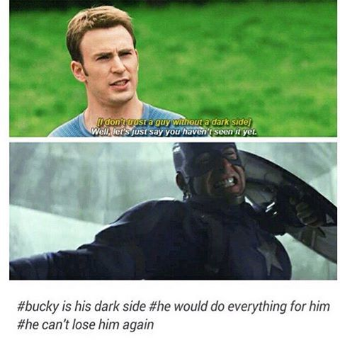 """He told Tony he hadn't seen his dark side yet... Bucky is reason enough for it. We all have that """"dark side"""" for the ones we'd go til the end of the line for. - Civil War"""