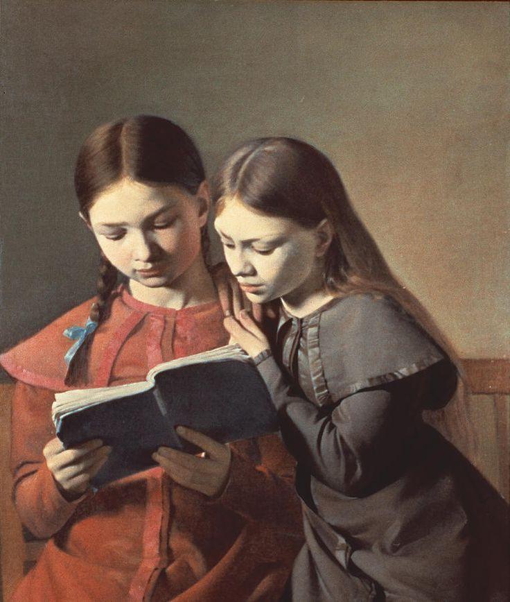 Carl-Christian-Constantin Hansen, The Artist's Sisters Reading a Book