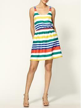 multi color stripe spring summer dress