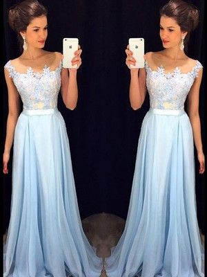 A-Line/Princess Sleeveless Sheer Neck Applique Chiffon Sweep/Brush Train Dresses - Prom Dresses 2016 - Prom Dresses