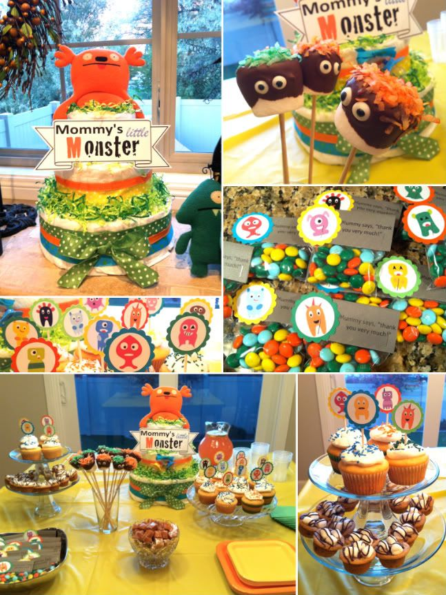 Ok, so I love the little forest creatures nursery ideas, BUT a Monster themed Baby Shower and Nursery just seems so FUN! :) An even cuter one can be found here: http://offbeatmama.com/2012/06/monster-themed-baby-shower   Decisions, decisions!