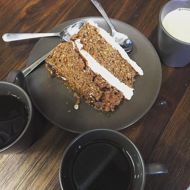 Coffee and cake time #cake #carrotcake #blackcoffee #creamcoffee