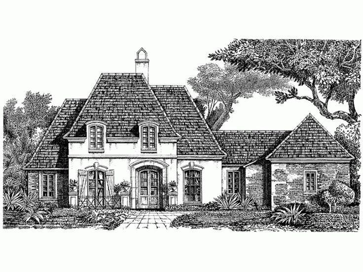 norman style 1 story 4 bedroomss house plan with 2678 total square feet and 3 full bathrooms from dream home source house plans - 1 Story French Country House Plans