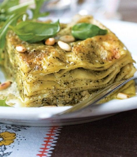 Pesto lasagne  add mushrooms and spinach