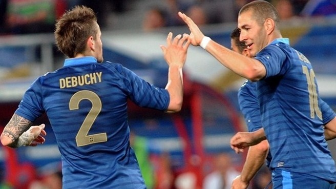 Mathieu Debuchy & Karim Benzema (France)  Mathieu Debuchy celebrates with Karim Benzema after scoring France's first goal in their 3-2 defeat of Iceland