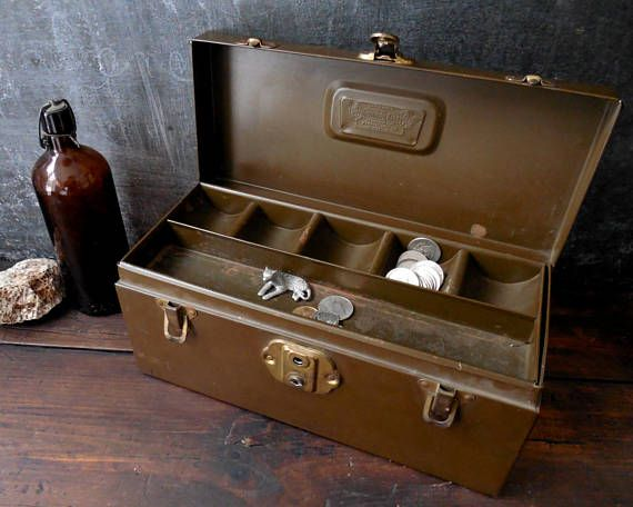 Vintage Metal Utility Tool Box Kennedy Kits _ Coin Tray