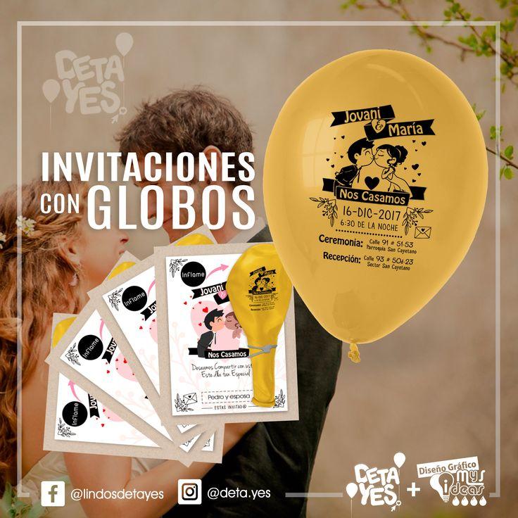 Novedosas Invitaciones con Globos  para Boda, somos @deta_yes , Envíos a Toda Colombia, Pedidos 3185657519