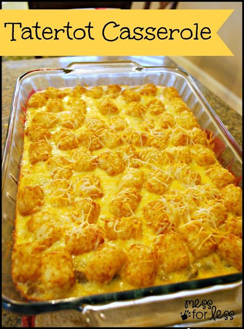 Tater Tot Breakfast Casserole - simple to make. I prepared it the night before and just popped it in the oven in the morning. Delicious, war...