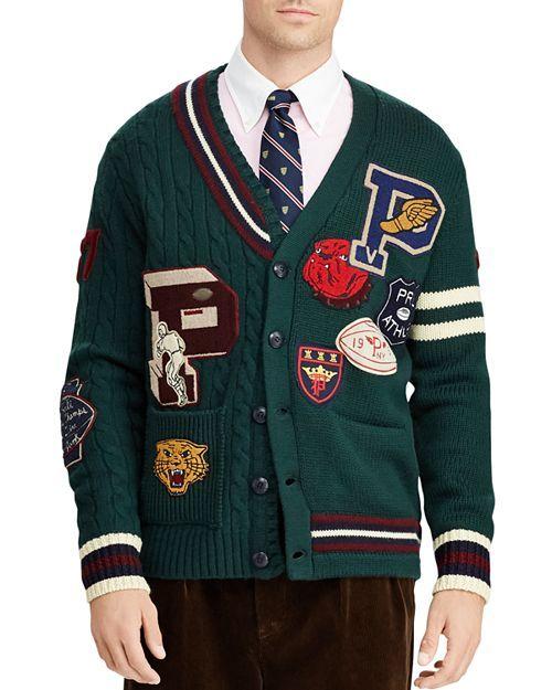 26cb3fddcf779 Polo Ralph Lauren - Patchwork Merino Wool Letterman Cardigan