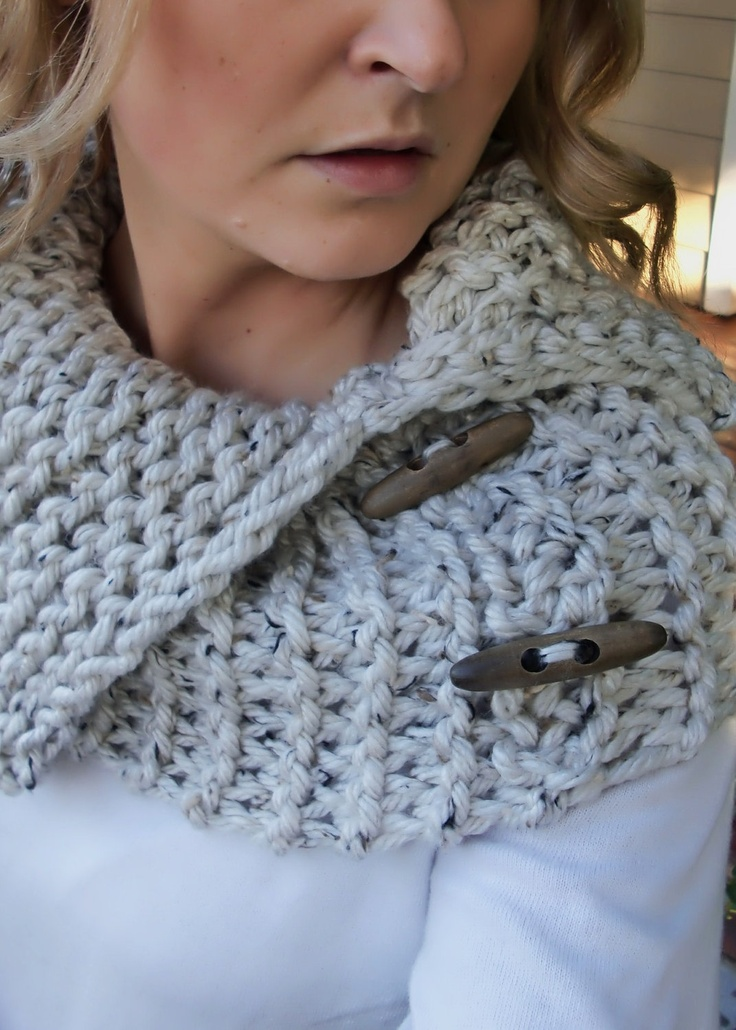 Chunky Heather Grey Cowl with Wooden Toggles. $34.00, via Etsy. | Knitting, Crochet, Crochet shawl