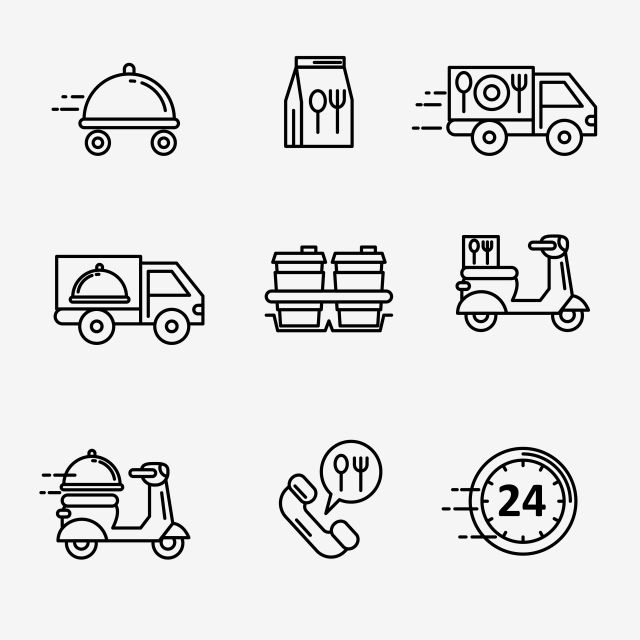 Set Of Food Delivery Line Icon Black And White Food Delivery Symbol Fast Delivery Vector Png And Vector With Transparent Background For Free Download Food Delivery Logo Food Icons Drink Icon