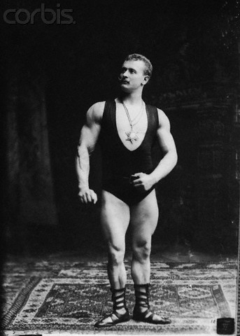 The strongman Eugen Sandow at the Columbian Exposition of 1893.