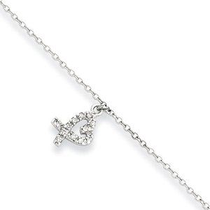 """CZ Heart Charm Anklet in Sterling Silver, 10-11 Inch The Black Bow. $41.00. Average weight is 2.54 grams. 1/2"""" heart charm set with white CZ stones. 1mm cable chain adjusts in length 10-11"""". Crafted from polished sterling silver. Save 60%!"""