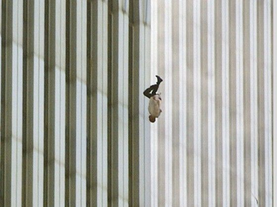 """A man falling from the world trade centre. The picture is called: """"The Falling Man"""""""