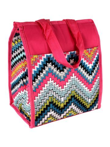$5.50 Pink Dotted Chevron Insulated Lunch Tote