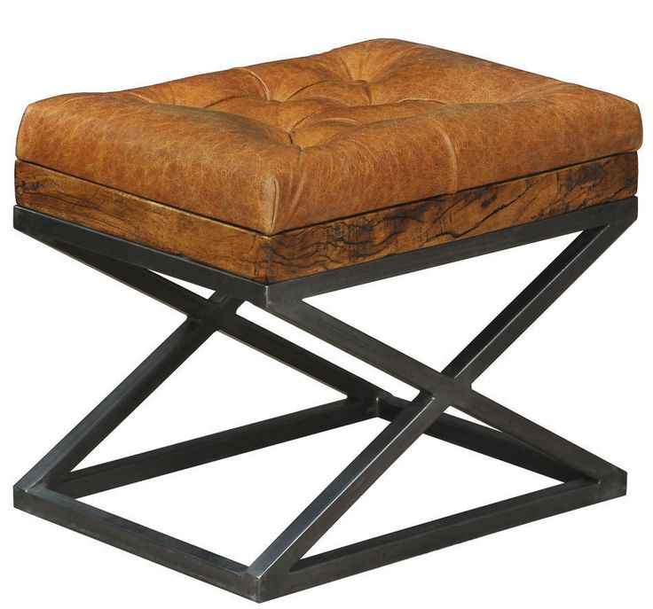 Leather Cushion Bench Stool Iron Ottoman Handmade X Base New Free Shipping Rt Bench Cushions